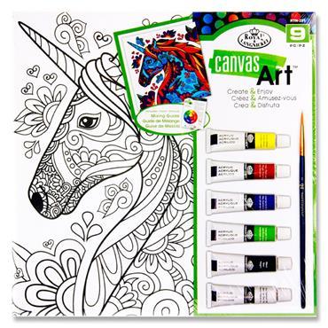 CANVAS ART 9pce CREATE & ENJOY PAINTING SET - UNICORN