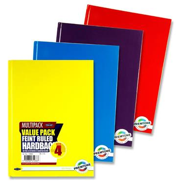 Premto Pkt.4 A4 160pg Asst. Hardcover Notebooks