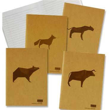 ICON A5 80pg 110gsm KRAFT NOTEBOOK BOOK ANIMALIA DESIGN 4 ASST - RULED