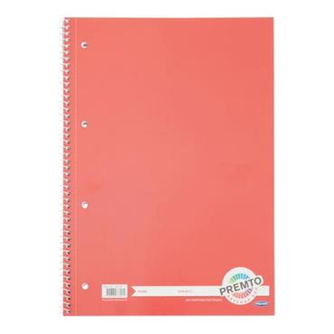 PREMTO A4 160pg SPIRAL NOTEBOOK - KETCHUP RED