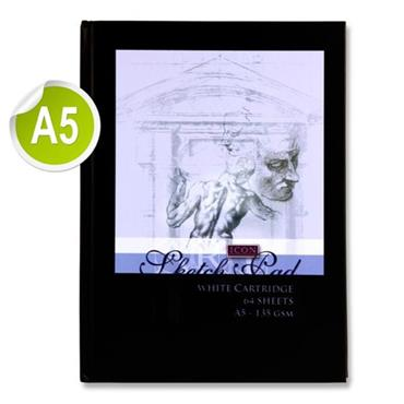 Icon A5 135gsm Hardcover Sketch Book 64 Sheet - Black