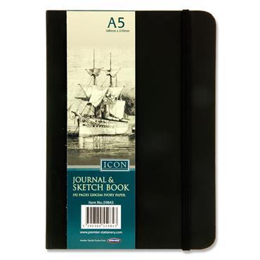 ICON A5 120gsm 192pg BLACK JOURNAL & SKETCH BOOK W/ELASTIC CDU