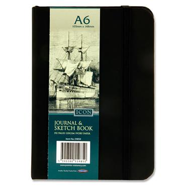 ICON A6 192pg BLACK JOURNAL & SKETCH BOOK W/ELASTIC CDU