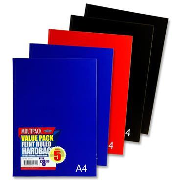 Premier Pkt.5 A4 160pg Hardcover Notebook 3 Asst Bold