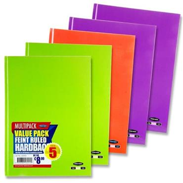 Premier Pkt.5 A4 160pg Hardcover Notebook 3 Asst Pastel