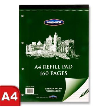 Premier A4 160pg Narrow Lined Refill Pad - Top