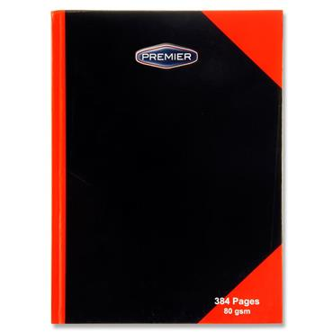 Premier A4 384pg 80gsm Hardcover Notebook Black & Red