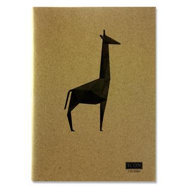 ICON A4 80pg 110gsm KRAFT SKETCH BOOK ANIMALIA DESIGN 4 ASST.