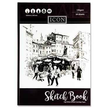 Icon A3 135gsm Hardcover Sketch Book 64 Sheets