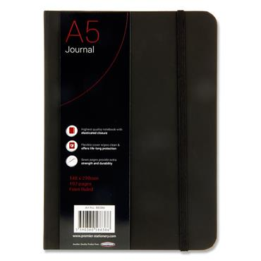 CONCEPT A5 192pg BLACK JOURNAL RULED W/ELASTIC CDU