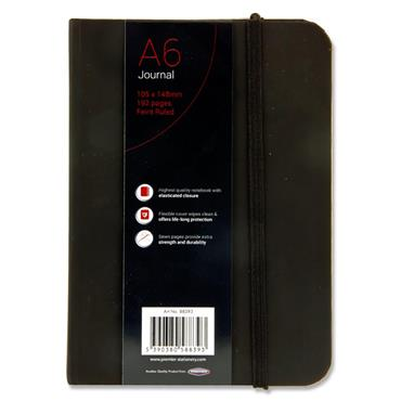 CONCEPT A6 192pg BLACK JOURNAL RULED W/ELASTIC CDU