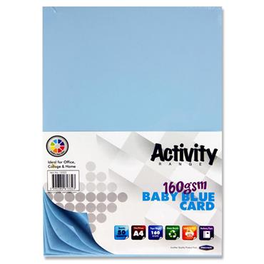 Premier Activity A4 160gsm Card 50 Sheets - Baby Blue