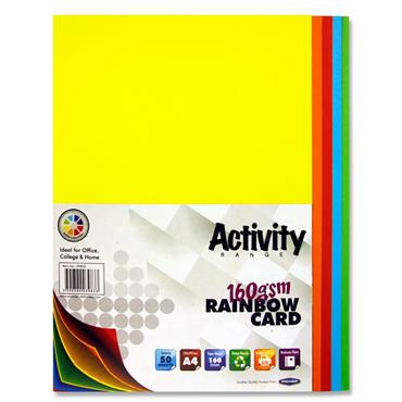 Premier Activity A4 160gsm Card 50 Sheets - Rainbow
