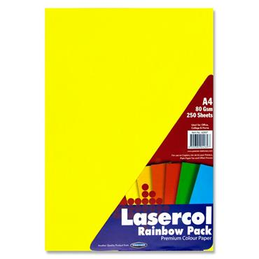 Lasercol A4 80gsm Colour Paper 1/2 Ream - Rainbow