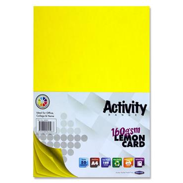 Premier Activity A4 160gsm Card 50 Sheets - Lemon