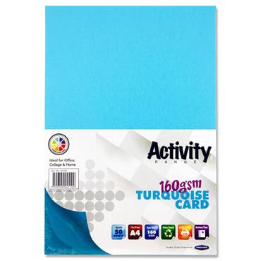 Premier Activity A4 160gsm Card 50 Sheets - Turquoise