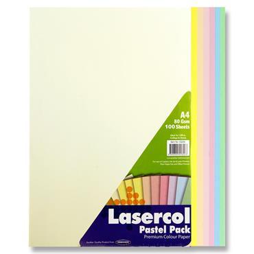 Lasercol A4 80gsm Colour Paper 100 Sheets - Pastel