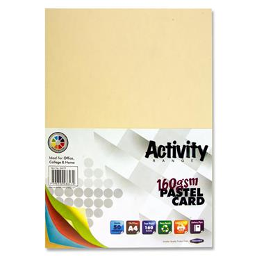 Premier Activity A4 160gsm Card 50 Sheets - Rainbow Pastel