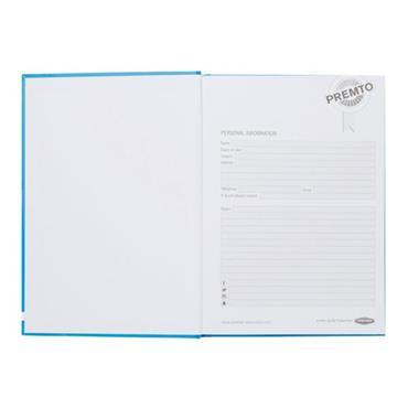 PREMTO A5 160pg HARDCOVER NOTEBOOK - PRINTER BLUE