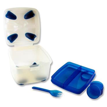 SMASH NUDE FOOD MOVER 2 TIER SALAD BOX W/FORK - BLUE CDU