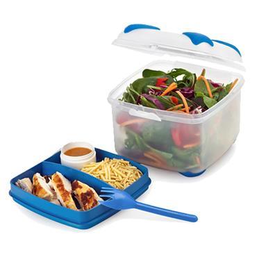 SMASH NUDE FOOD MOVER 2 TIER SALAD BOX W/FORK - BLUE CDU