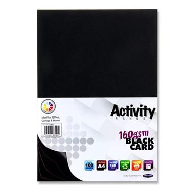 Premier Activity A4 160gsm Card 100 Sheets - Black