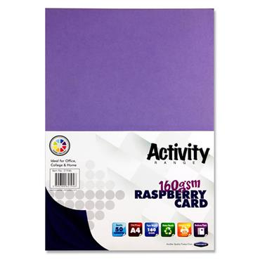 Premier Activity A4 160gsm Card 50 Sheets - Raspberry