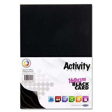 Premier Activity A4 160gsm Card 40 Sheets - Black