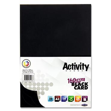 Premier Activity A3 160gsm Card 20 Sheets - Black