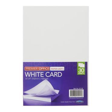 "PREMIER OFFICE PKT.30 6""x4"" WHITE CARD"