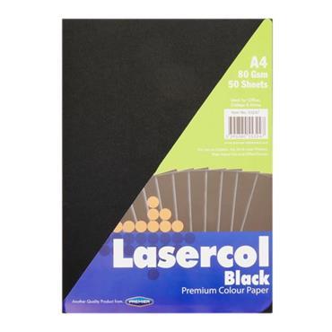 LASERCOL A4 80gsm COLOUR PAPER 50 SHEETS - BLACK