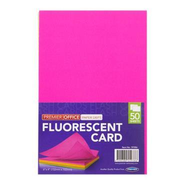 "PREMIER OFFICE PKT.50 6""x4"" FLUORESCENT CARD"