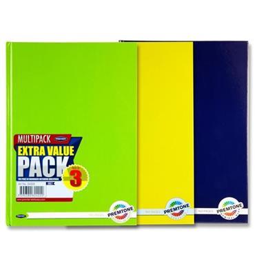 Premtone S4 Pkt.3 A4 160pg Hardcover Notebook