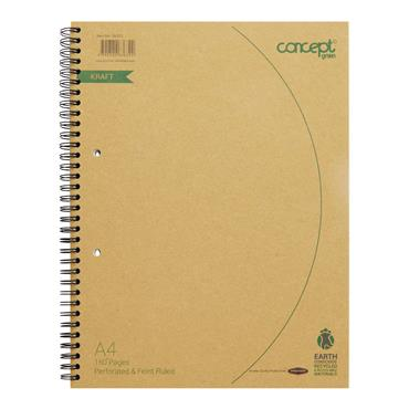 CONCEPT GREEN A4 160pg WIRO NOTEBOOK RECYCLED PAPER