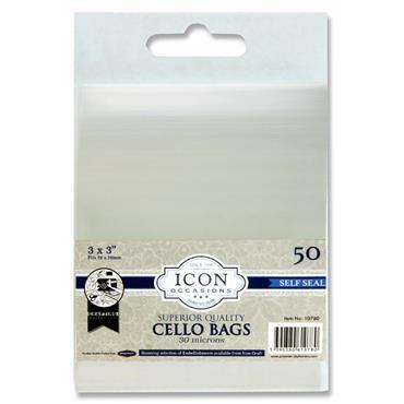 """Icon Occasions Pkt.50 3""""x3"""" Self Seal Cello Bags"""