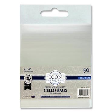 """Icon Occasions Pkt.50 4""""x4"""" Self Seal Cello Bags"""