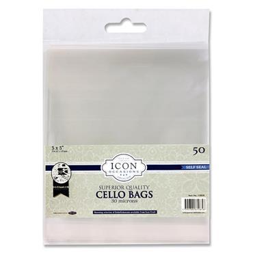 """Icon Occasions Pkt.50 5""""x5"""" Self Seal Cello Bags"""