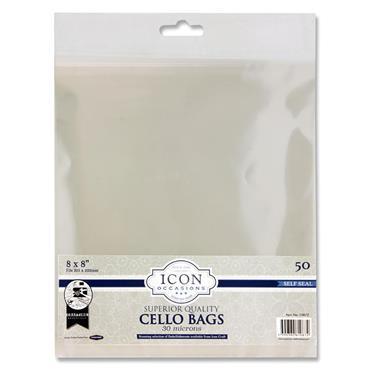 """ICON OCCASIONS PKT.50 8""""x8"""" SELF SEAL CELLO BAGS"""