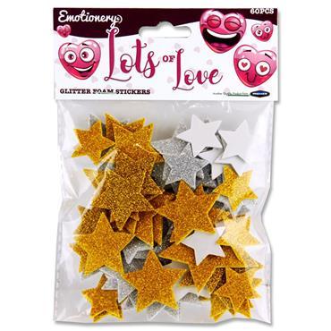 Emotionery Pkt.60 Glitter Foam Stickers - Lots Of Love Stars