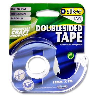 STIK-IE DOUBLE SIDED TAPE ON DISPENSER 12mm x 7m