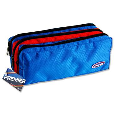 Premier 3 Pocket Zip Pencil Case - Blue & Red