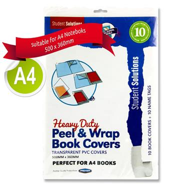 Student Solutions Pkt.10 A4 Heavy Duty Peel & Wrap Transparent Book Covers