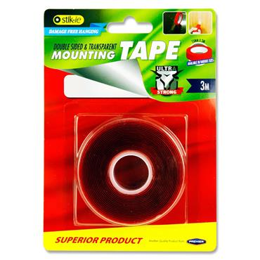 STIK-IE DOUBLE SIDED MOUNTING TAPE CLEAR - 3m x 15mm