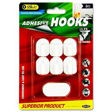 STIK-IE CARD 6 REMOVABLE ADHESIVE PLASTIC HOOKS - 32x24mm