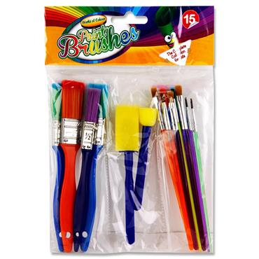 WOC PKT.15 COLOURFUL PAINT BRUSHES & SPONGES SET