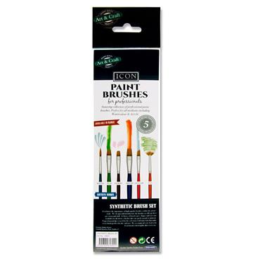 Icon Pkt.5 Paintbrush Set - Synthetic