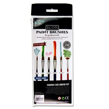Icon 10pce Brush Set - Golden Taklon Beveled Edge