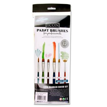 ICON 12pce LONG HANDLE BRUSH SET - MED WHITE TAKLON