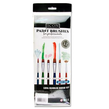 Icon 12pce Long Handle Brush Set - Med Golden Taklon