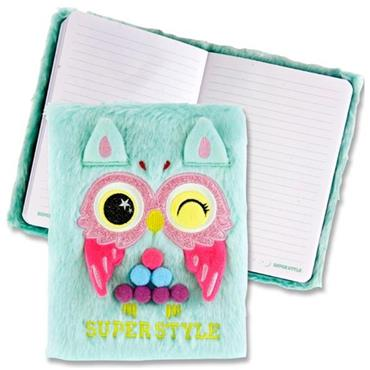 Emotionery A5 128pg Plush Notebook - Owl Super Style
